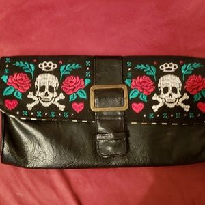 Loungefly Skulls and Rose's Embroidered Clutch
